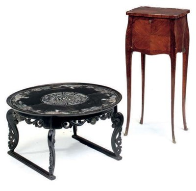 A FRENCH FRUITWOOD AND MAHOGAN