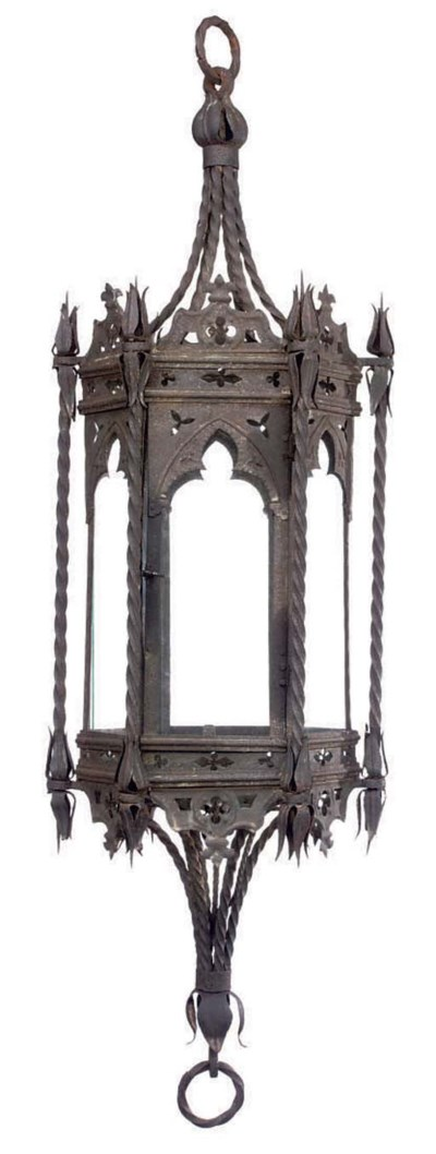 A PAIR OF WROUGHT IRON LANTERN