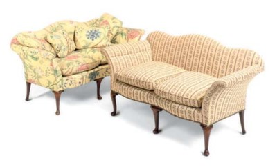 A PAIR OF WALNUT TWO-SEATER SO