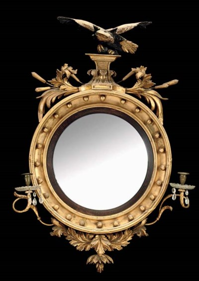 A REGENCY GILTWOOD CONVEX AND