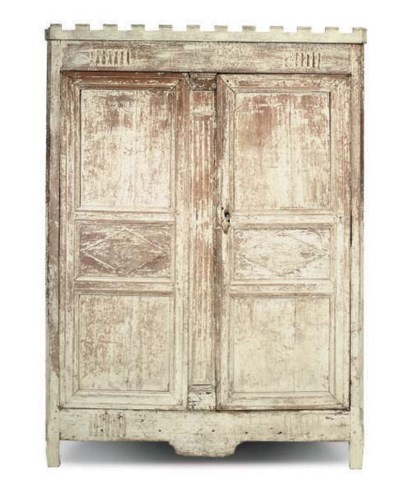 A FRENCH PAINTED ARMOIRE