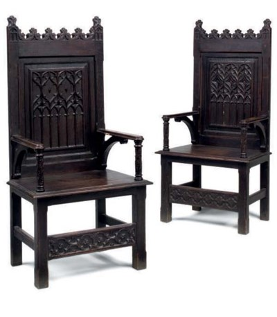 A PAIR OF VICTORIAN GOTHIC OAK