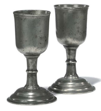 A PAIR OF PEWTER COMMUNION CHA