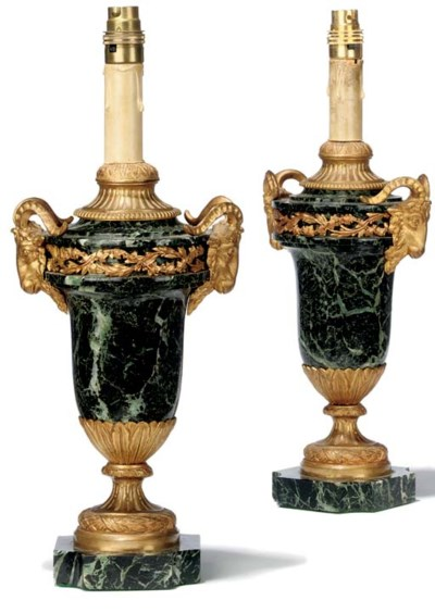 A PAIR OF FRENCH GREEN MARBLE