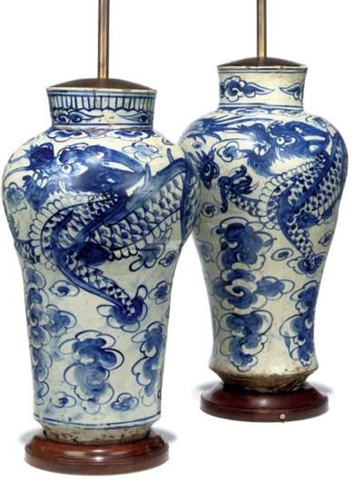 A NEAR PAIR OF KOREAN BLUE AND