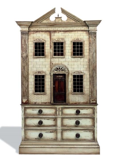 A GREY PAINTED DOLL'S HOUSE