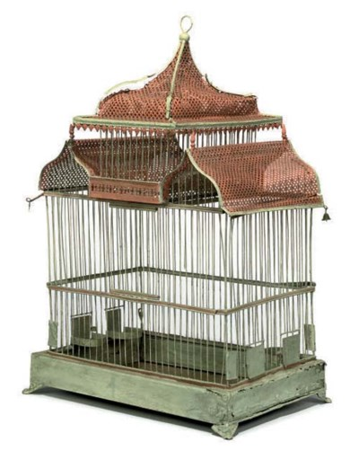 A FRENCH PAINTED TIN BIRD-CAGE
