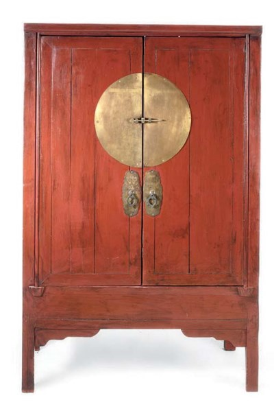 A CHINESE RED LACQUER CABINET