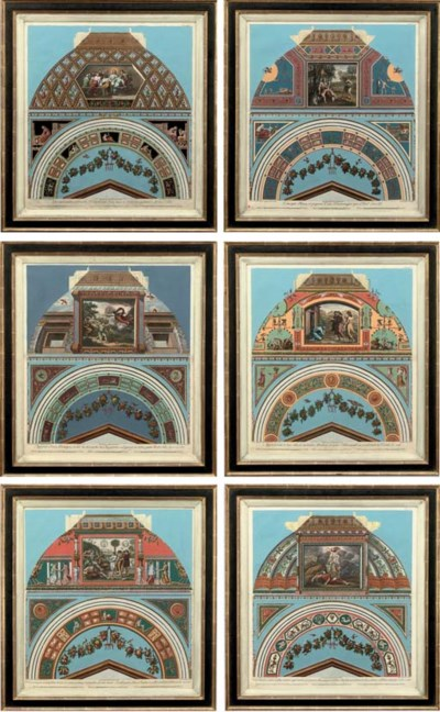 SIX HAND-COLOURED ENGRAVINGS O