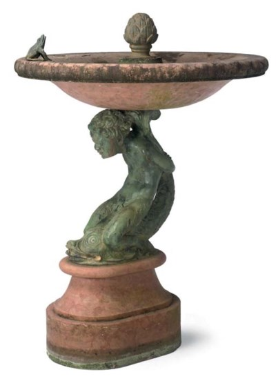 A BRONZE AND MARBLE FAUN AND D