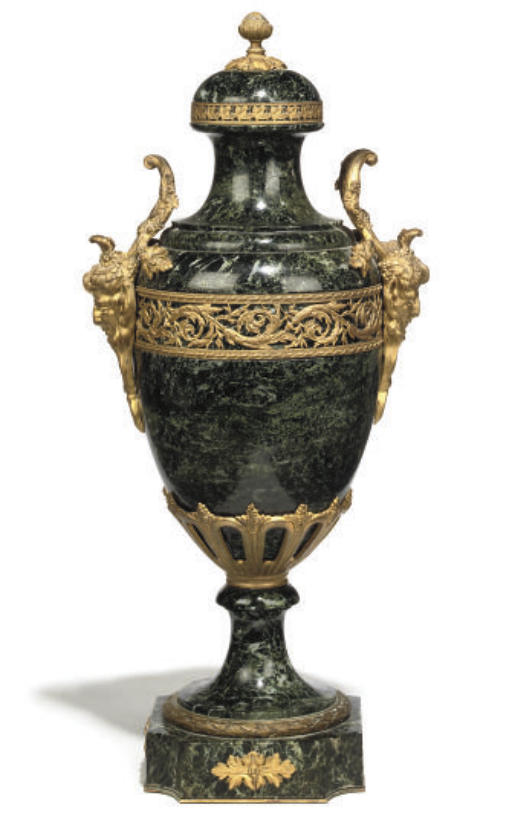 A FRENCH GREEN MARBLE AND GILT