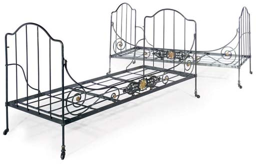 A PAIR OF STEEL CAMPAIGN BEDS