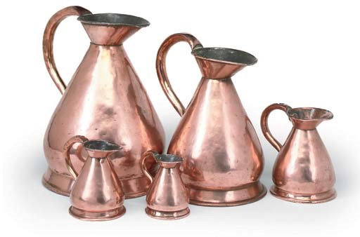 A COLLECTION OF FIVE COPPER 'H