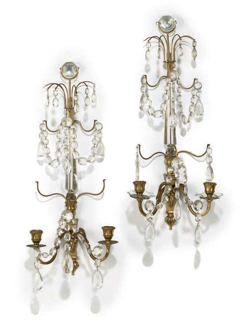 A PAIR OF GLASS AND GILT-BRASS