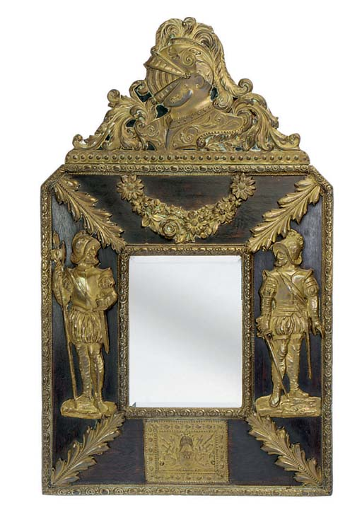 A DUTCH REPOUSSE BRASS MIRROR