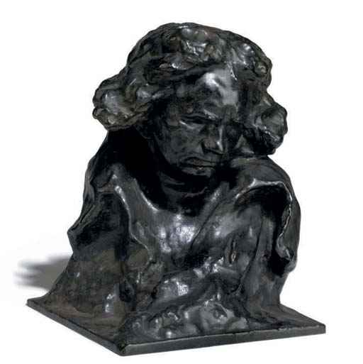 A FRENCH BRONZE BUST OF BEETHO