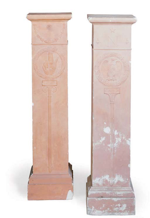 A PAIR OF FRENCH PAINTED PLAST