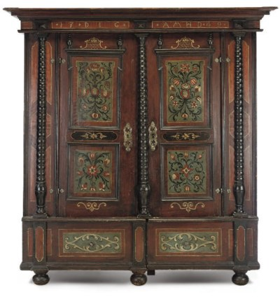 A SWISS PAINTED PINE CUPBOARD