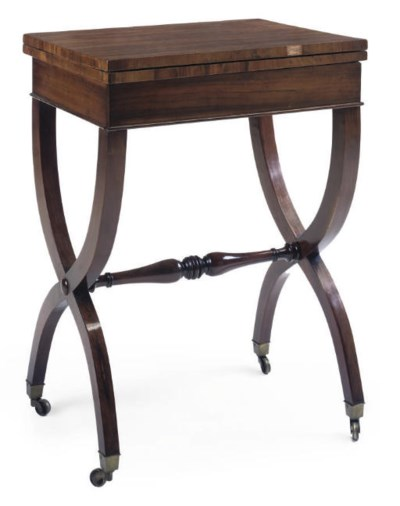 A REGENCY ROSEWOOD CARD TABLE