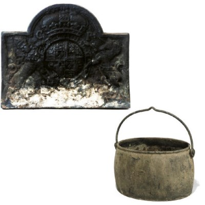 A LARGE ENGLISH CAST-IRON FIRE