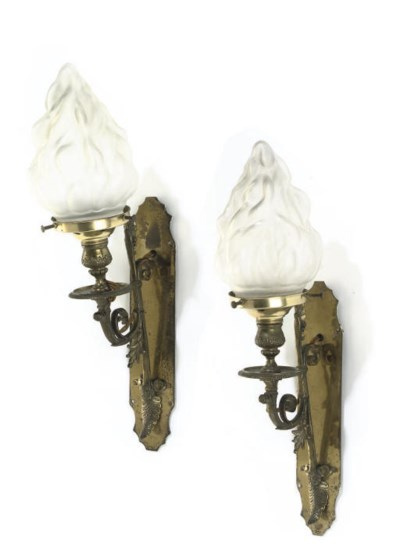 A PAIR OF ENGLISH GILT-BRASS W