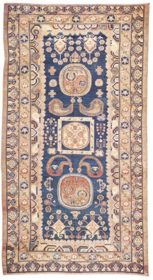 An antique Khotan carpet