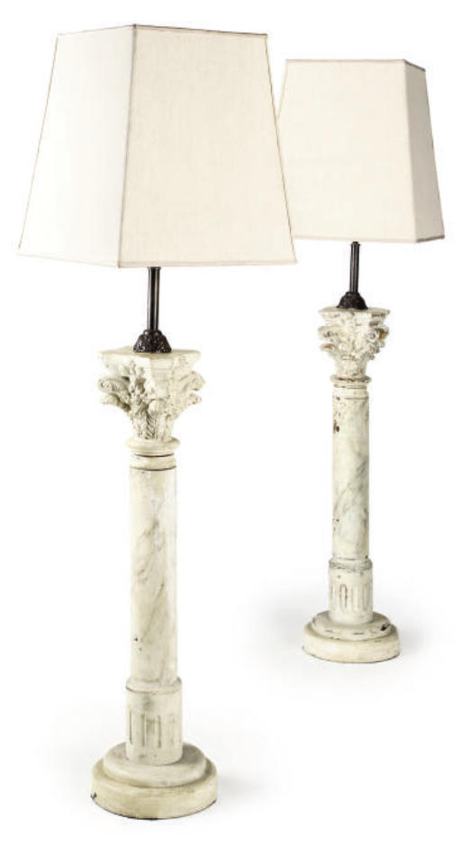 A PAIR OF SIMULATED MARBLE AND