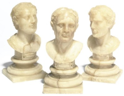 THREE ITALIAN ALABASTER BUSTS