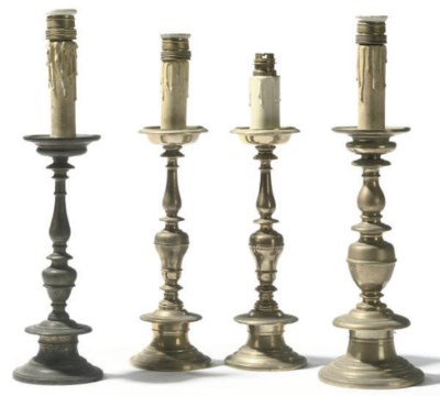 A PAIR OF FLEMISH BRASS CANDLE
