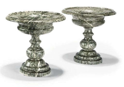 A PAIR OF ITALIAN GREEN MARBLE