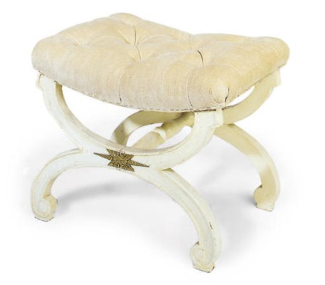 A REGENCY WHITE PAINTED STOOL