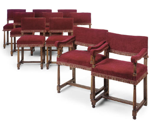 A SET OF TEN FRENCH OAK CHAIRS