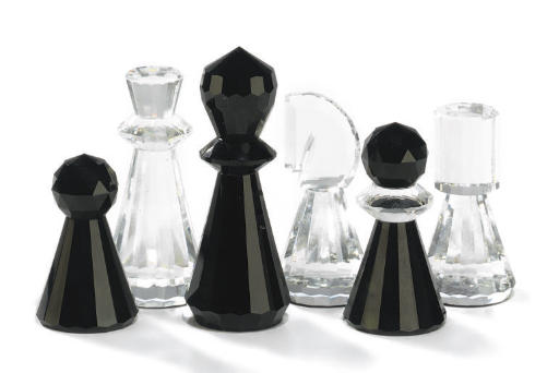 A SWAROVSKI CUT GLASS CHESS SE