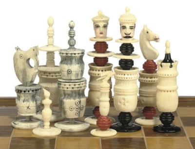 A MEXICAN BONE PAINTED CHESS S