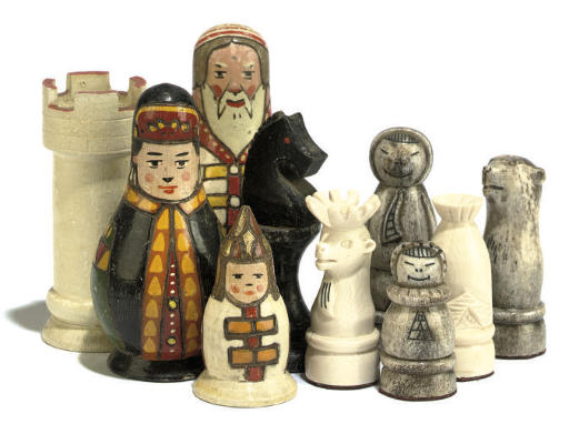A RUSSIAN PAINTED WOOD CHESS S