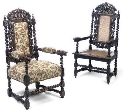 A NEAR PAIR OF OAK ARMCHAIRS