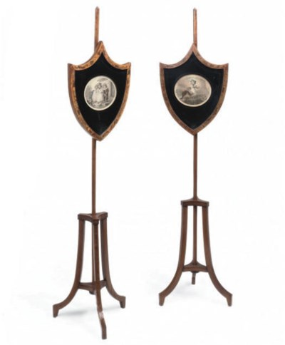 A PAIR OF SATINWOOD AND FLORAL