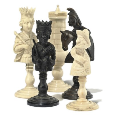 A FRENCH BONE BUST TYPE CHESS