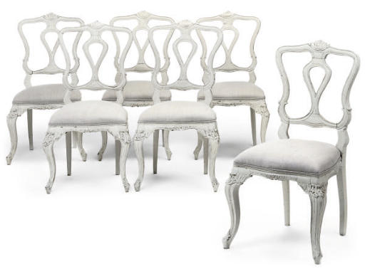 A SET OF SIX PAINTED DINING CH