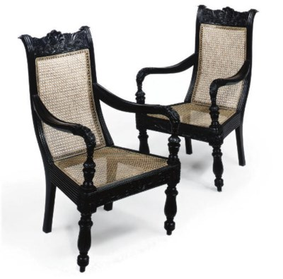 A PAIR OF INDIAN EBONISED AND