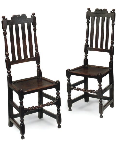 A PAIR OF OAK BACK-STOOLS
