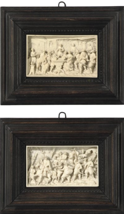 A PAIR OF FLEMISH IVORY RELIEF
