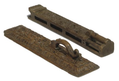 TWO SCANDINAVIAN CARVED-WOOD M
