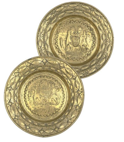 TWO FLEMISH BRASS ALMS DISHES