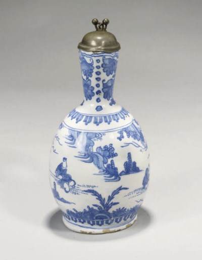 A FAYENCE BLUE AND WHITE PEWTE