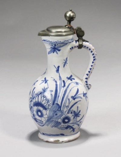 A GERMAN FAYENCE BLUE AND WHIT