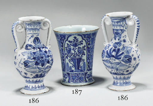 TWO GERMAN FAYENCE BLUE AND WH