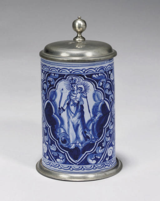 A GERMAN FAYENCE PEWTER-MOUNTE