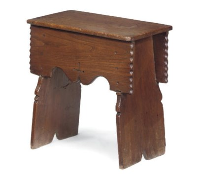 AN ENGLISH ELM BOARDED STOOL