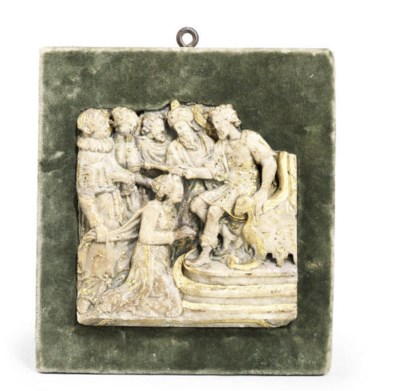 A MALINES ALABASTER RELIEF PAN